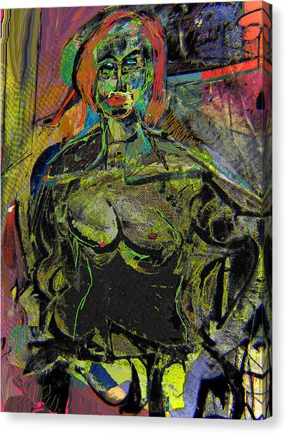 Seated Woman Canvas Print by Noredin Morgan