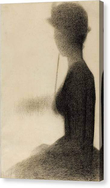 Post-impressionism Canvas Print - Seated Woman With A Parasol Study For La Grande Jatte by Georges-Pierre Seurat