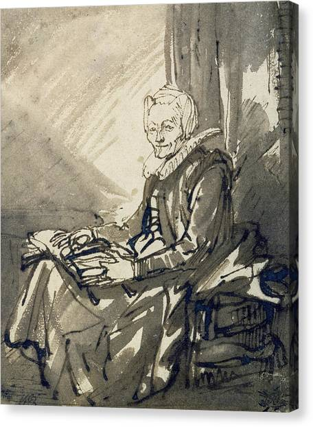Baroque Canvas Print - Seated Woman With An Open Book On Her Lap by Rembrandt
