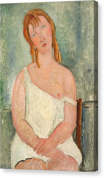 Nipples Canvas Print - Seated Young Girl In A Shirt by Amedeo Modigliani
