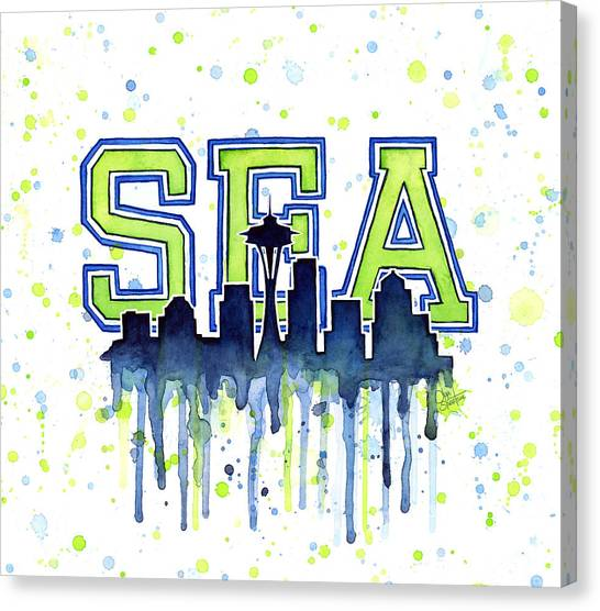 Sport Art Canvas Print - Seattle Watercolor 12th Man Art Painting Space Needle Go Seahawks by Olga Shvartsur