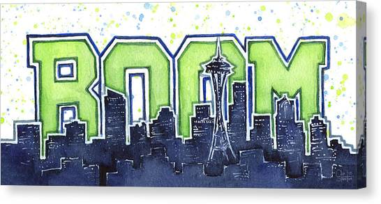 Seattle Seahawks Canvas Print - Seattle 12th Man Legion Of Boom Painting by Olga Shvartsur