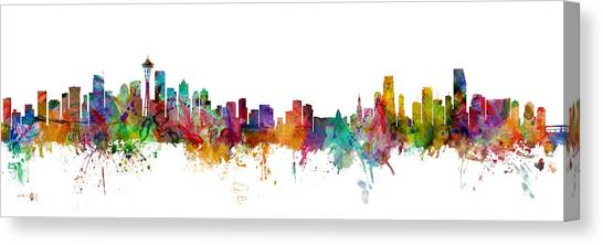 Seattle Skyline Canvas Print - Seattle And Miami Skylines Mashup by Michael Tompsett