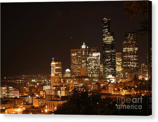 Seattle At Night Canvas Print by Robert Torkomian