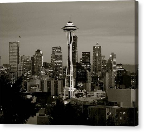 Canvas Print - Seattle Black And White by Sonja Anderson