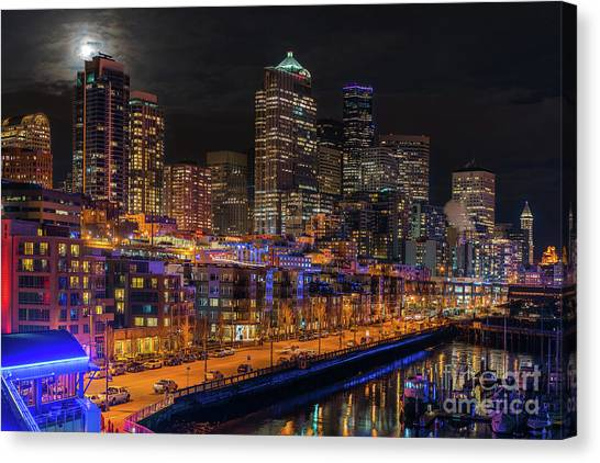 The Nature Center Canvas Print - Seattle Cityscape Full Moonrise by Mike Reid
