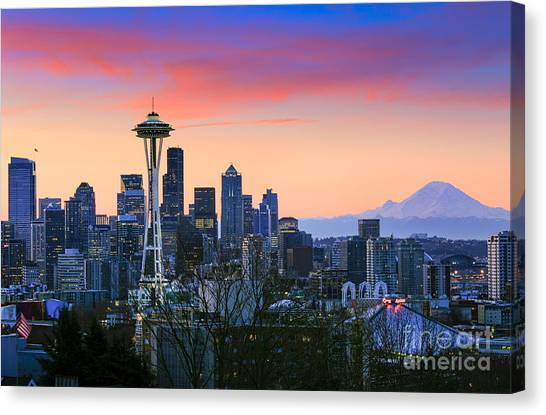 Mount Rainier Canvas Print - Seattle Waking Up by Inge Johnsson