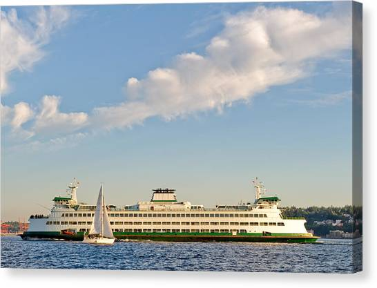 Seattle Ferry Boat Canvas Print by Tom Dowd