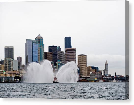 Seattle Fire Boat Canvas Print by Tom Dowd