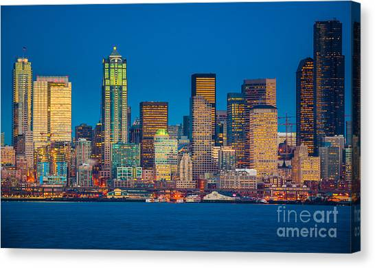 Tugboat Canvas Print - Seattle From Alki Beach by Inge Johnsson