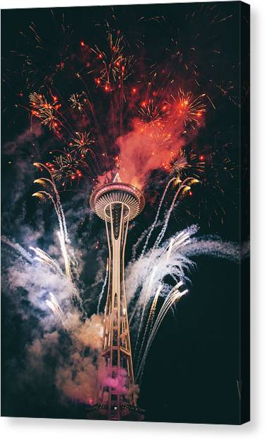 Fireworks Canvas Print - Seattle by Happy Home Artistry