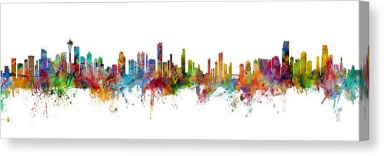 Seattle Skyline Canvas Print - Seattle, Honolulu And Miami Skylines Mashup by Michael Tompsett