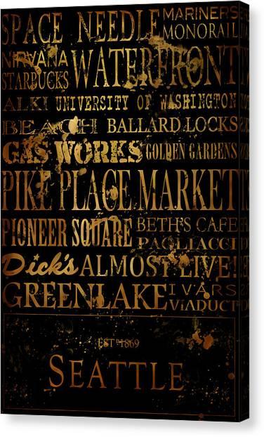 University Of Washington Canvas Print - Seattle Icons by Tanya Harrison