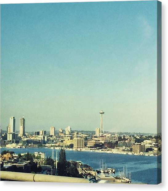 Skylines Canvas Print - Seattle In The Morning #seattle by Joan McCool