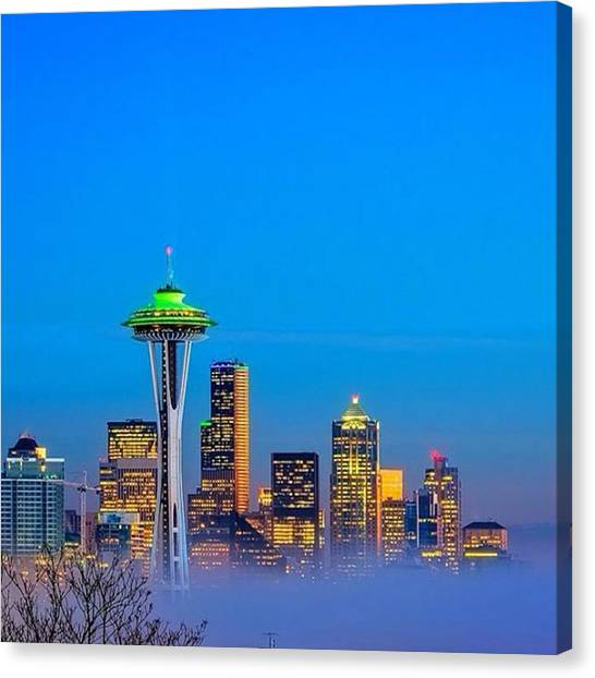 Seattle Seahawks Canvas Print - Seattle Lights I See Tonight. This Is by Ken Stanback