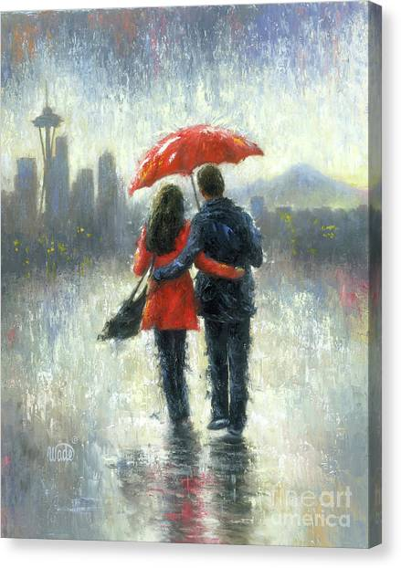 Space Needle Canvas Print - Seattle Lovers In The Rain by Vickie Wade
