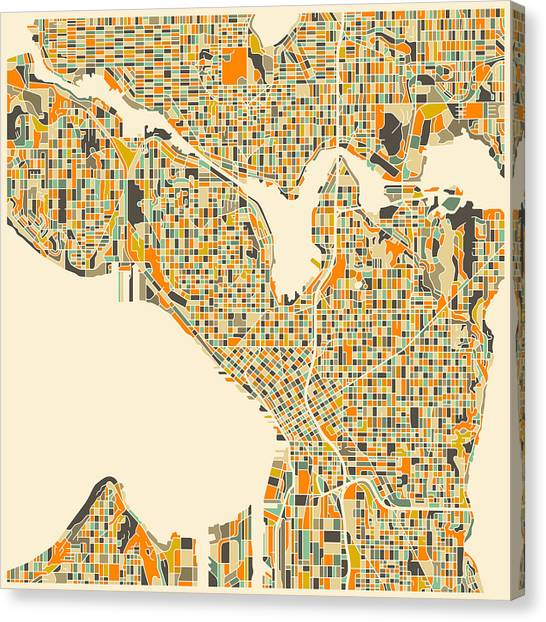 Canadian Artists Canvas Print - Seattle Map by Jazzberry Blue