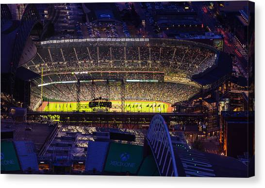 Seattle Mariners Canvas Print - Seattle Mariners Safeco Field Night Game by Mike Reid