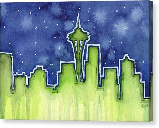 Seattle Seahawks Canvas Print - Seattle Night Sky Watercolor by Olga Shvartsur