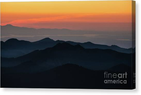Mount Rainier Canvas Print - Seattle Puget Sound And The Olympics Sunset Layers Landscape by Mike Reid
