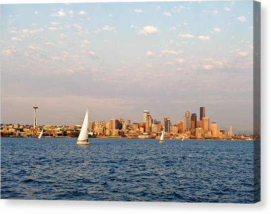 Seattle Puget Sound Canvas Print by Tom Dowd