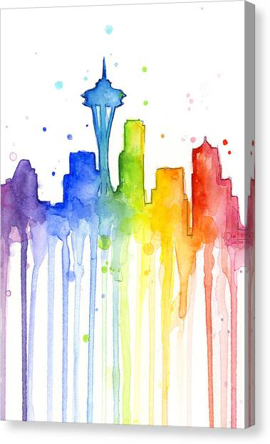 Rainbows Canvas Print - Seattle Rainbow Watercolor by Olga Shvartsur