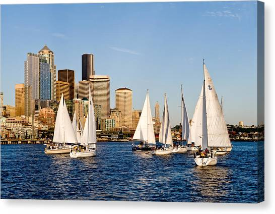Seattle Sailboats Canvas Print by Tom Dowd
