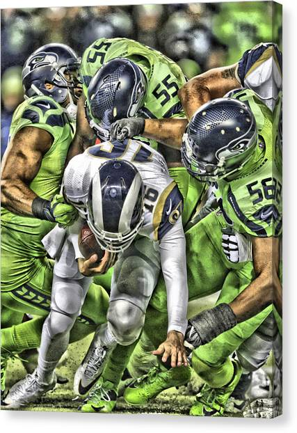 Seattle Seahawks Canvas Print - Seattle Seahawks Team Art 1 by Joe Hamilton