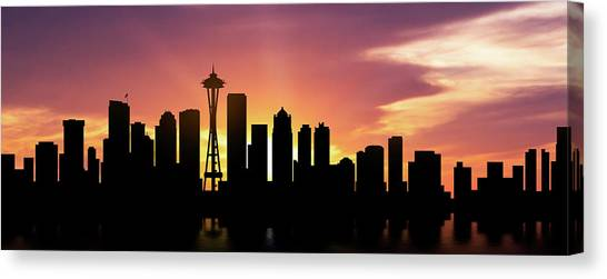 Seattle Skyline Canvas Print - Seattle Skyline Panorama Sunset by Aged Pixel