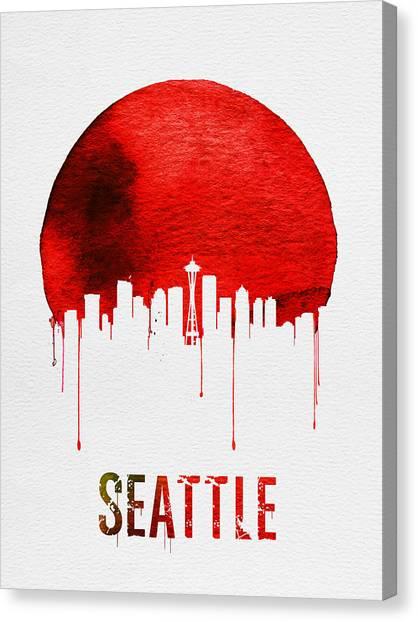 Seattle Canvas Print - Seattle Skyline Red by Naxart Studio