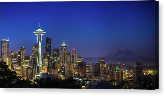 Cities Canvas Print - Seattle Skyline by Sebastian Schlueter (sibbiblue)