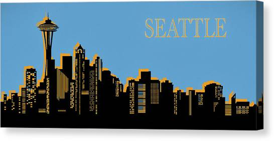 Seattle Mariners Canvas Print - Seattle Skyline Silhouette Pop Art by Dan Sproul