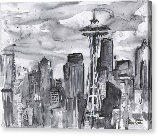 Washington Canvas Print - Seattle Skyline Space Needle by Olga Shvartsur