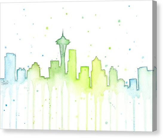 Seattle Seahawks Canvas Print - Seattle Skyline Watercolor  by Olga Shvartsur