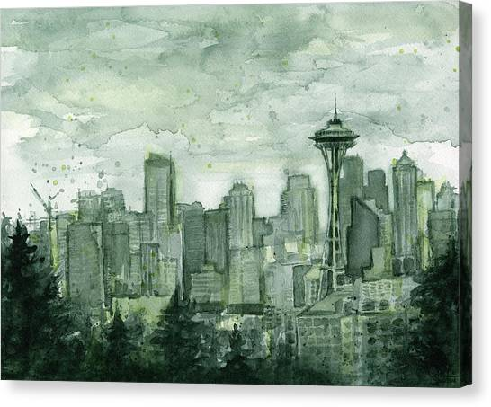 Seattle Skyline Canvas Print - Seattle Skyline Watercolor Space Needle by Olga Shvartsur