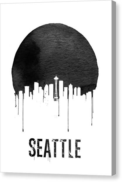 Seattle Skyline Canvas Print - Seattle Skyline White by Naxart Studio