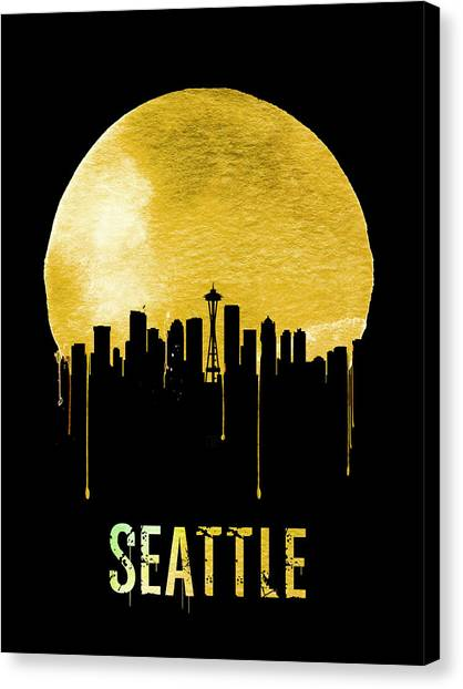 Seattle Skyline Canvas Print - Seattle Skyline Yellow by Naxart Studio