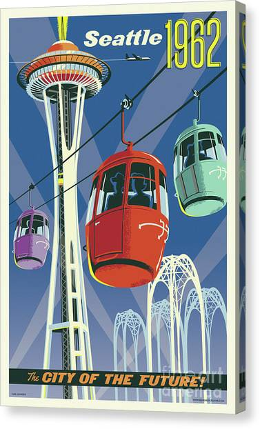 Space Needle Canvas Print - Seattle Poster- Space Needle Vintage Style by Jim Zahniser