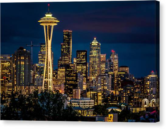 Seattle Space Needle After Dark Canvas Print