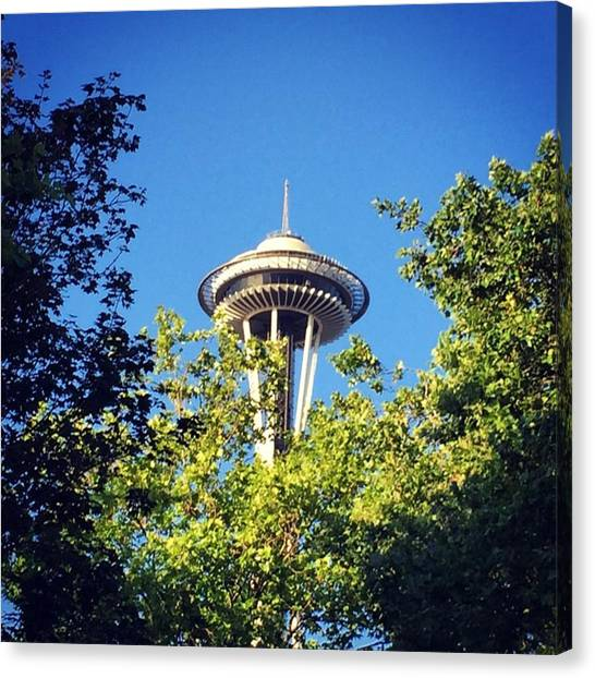 Seattle Canvas Print - Seattle Space Needle #city #seattle by Joan McCool
