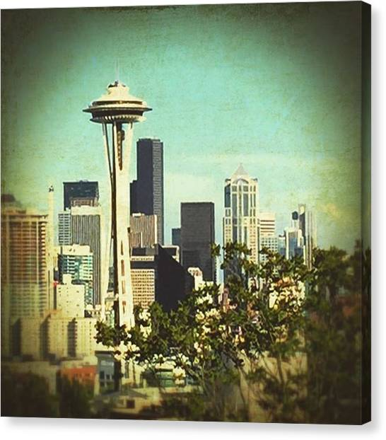Seattle Canvas Print - Seattle Space Needle #travel #seattle by Joan McCool