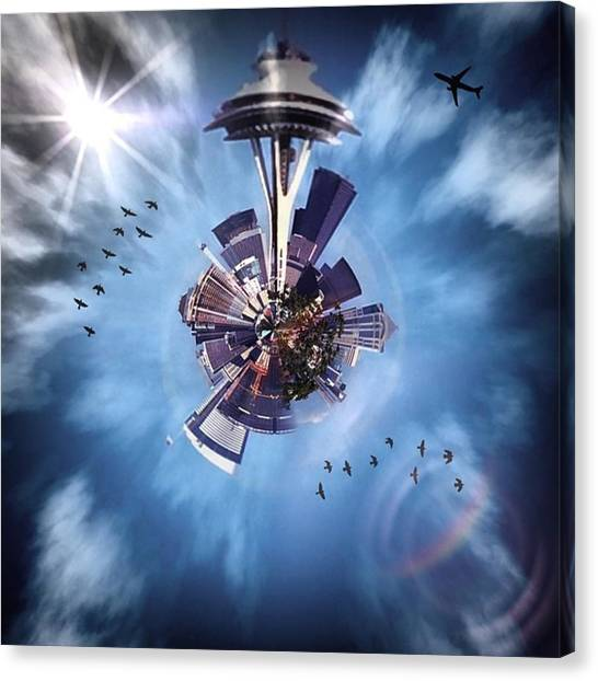 Skylines Canvas Print - Seattle #tinyworld #spaceneedle by Joan McCool