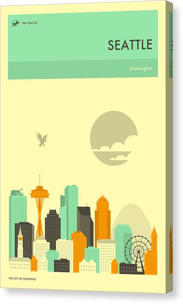 Seattle Skyline Canvas Print - Seattle Travel Poster by Jazzberry Blue