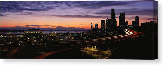 Sunrise Horizon Canvas Print - Seattle, Washington Skyline At Sunset by Panoramic Images