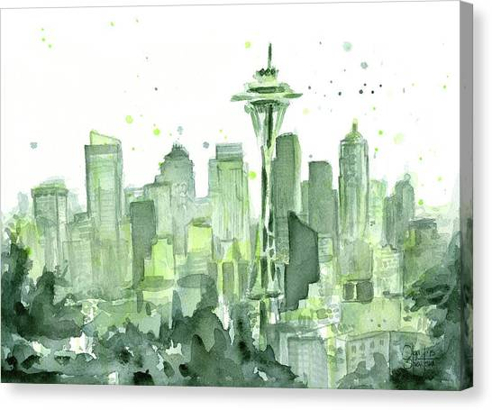 Washington Canvas Print - Seattle Watercolor by Olga Shvartsur