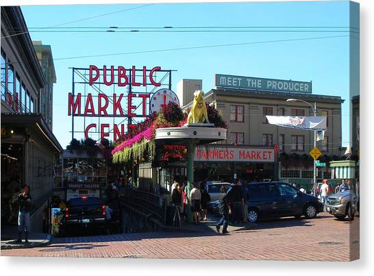Seattle's Pike Place Market Center  Canvas Print by Candace Garcia