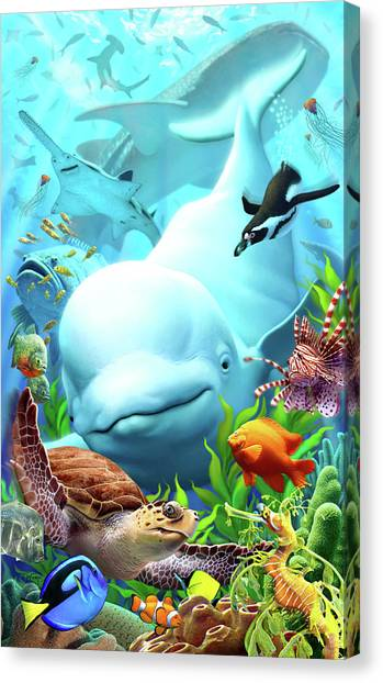 Ocean Life Canvas Print - Seavilians 2 by Jerry LoFaro