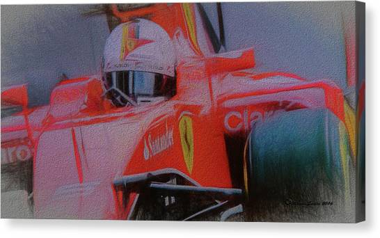 Finish Line Canvas Print - Sebastian Vettel by Marvin Spates