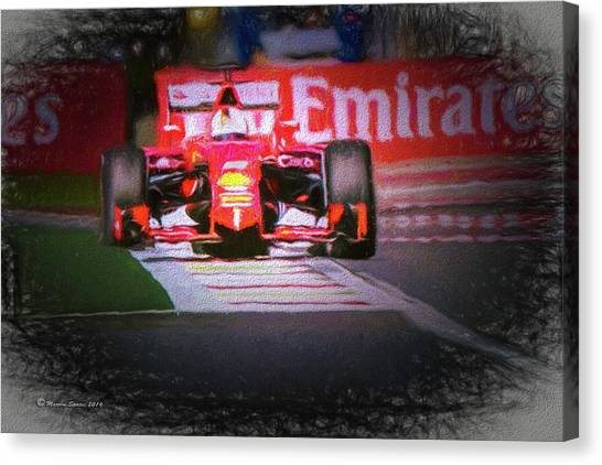 Finish Line Canvas Print - Sebastian Vettel's Ferrari by Marvin Spates