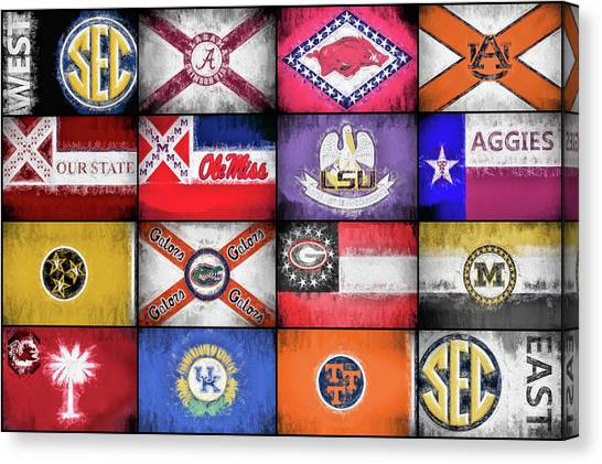 Mississippi State University Canvas Print - Sec Flags by JC Findley